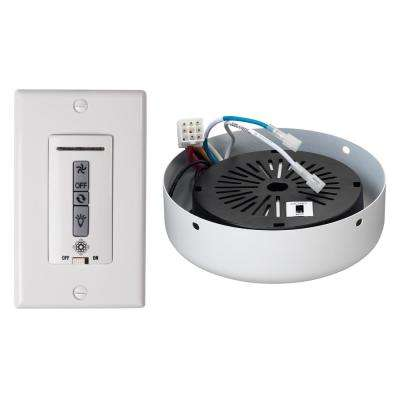 White and Almond Hardwired Ceiling Fan Wall Remote Control and Receiver with White Receiver Hub