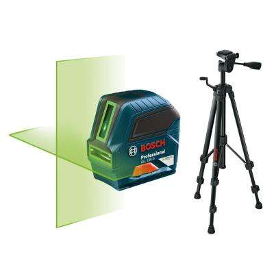 100 ft. Self Leveling Green Beam Cross Line Laser with Bonus Compact Tripod with Extendable Height