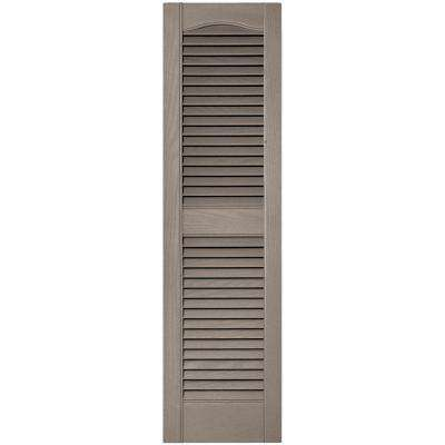 12 in. x 43 in. Louvered Vinyl Exterior Shutters Pair in #008 Clay