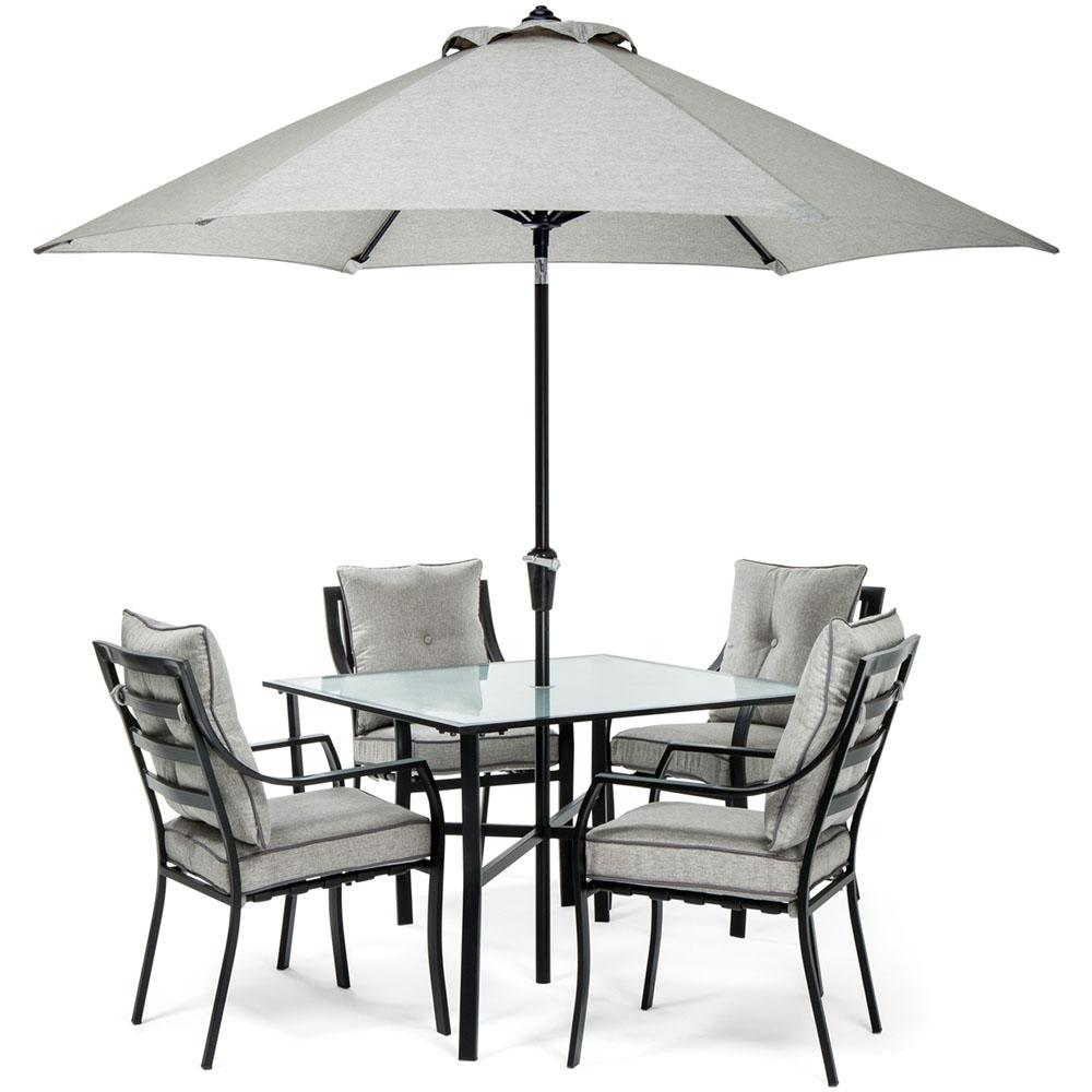 Hanover Lavallette Black Steel 5 Piece Outdoor Dining Set With Umbrella Base And Silver