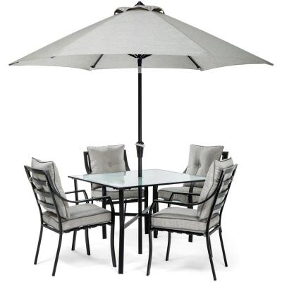 Lavallette Black Steel 5-Piece Outdoor Dining Set with Umbrella, Base and Silver Linings Cushions