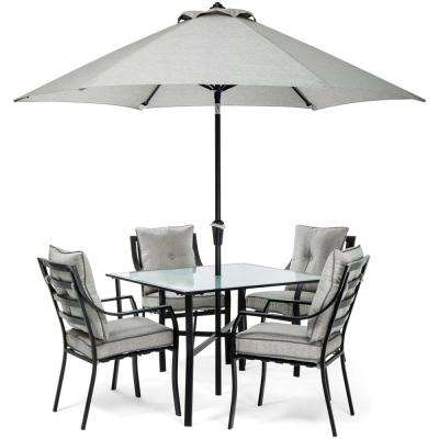 grey outdoor dining set fire pit dining table lavallette black steel 5piece outdoor dining gray patio sets furniture the home depot