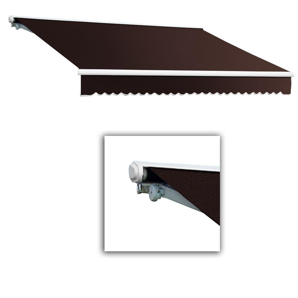 AWNTECH 24 ft. Galveston Semi-Cassette Right Motor with Remote Retractable Awning (120 in. Projection) Brown