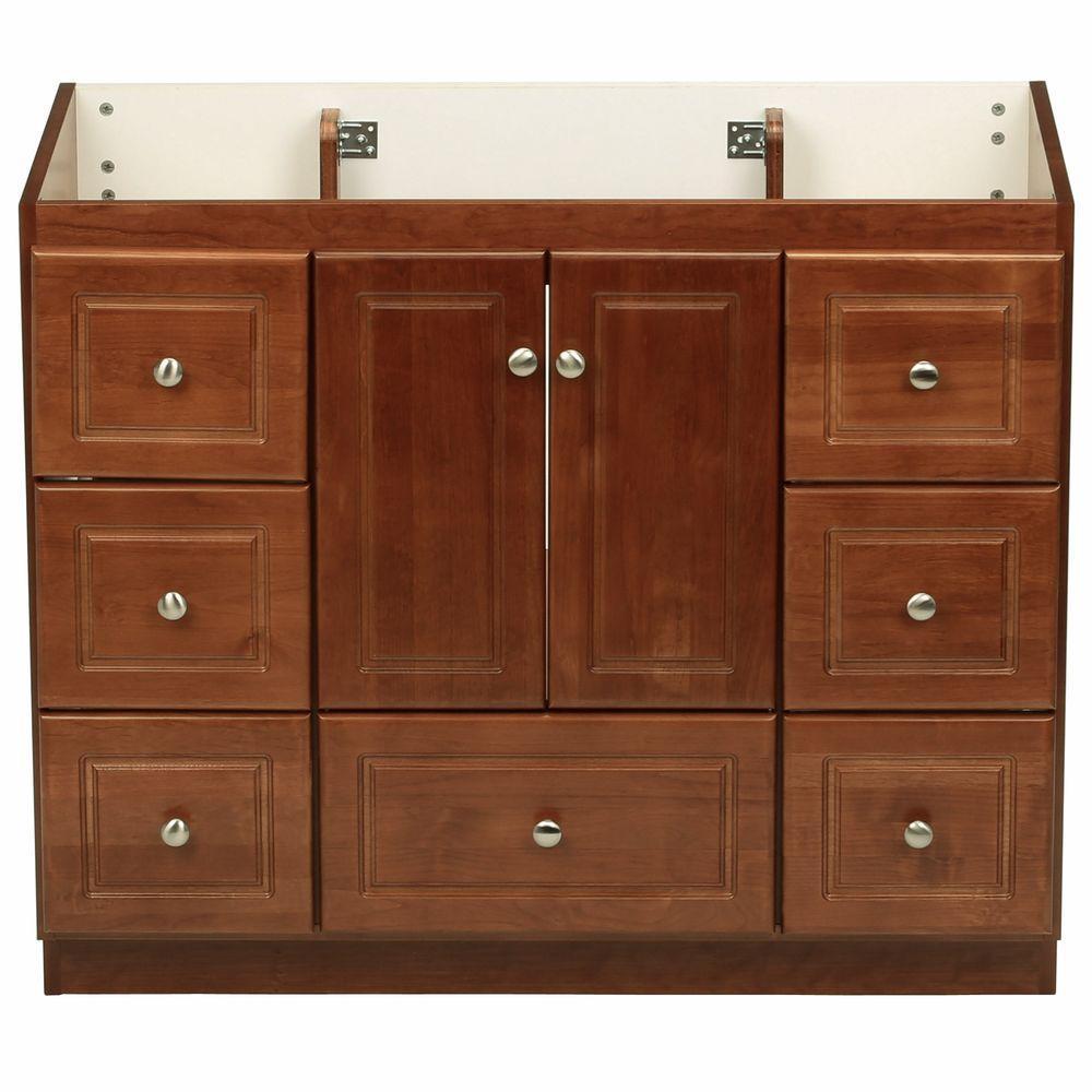 Ultraline 42 in. W x 21 in. D x 34.5 in. H Vanity Cabinet Only in Medium Alder