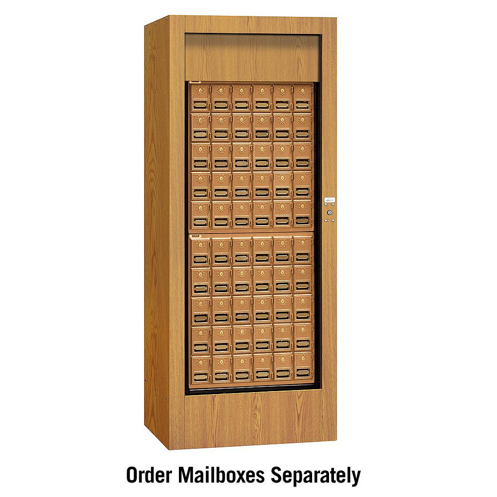 Usps Brass Style Rotary Mail Center in Oak (Brown)