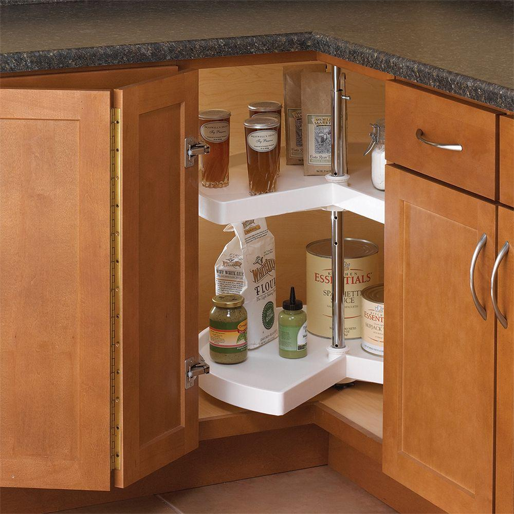Knape & Vogt 32 in. H x 24 in. W x 24 in. D 2-Shelf Kidney Shaped ...