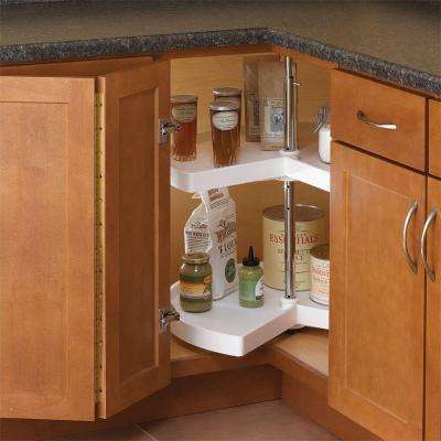 32 in. H x 24 in. W x 24 in. D 2-Shelf Kidney Shaped Lazy Susan Cabinet Organizer