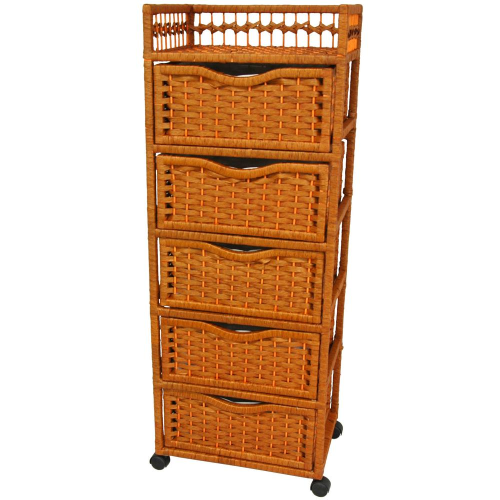 5 Drawer Honey Wheeled Natural Fiber Storage Chest