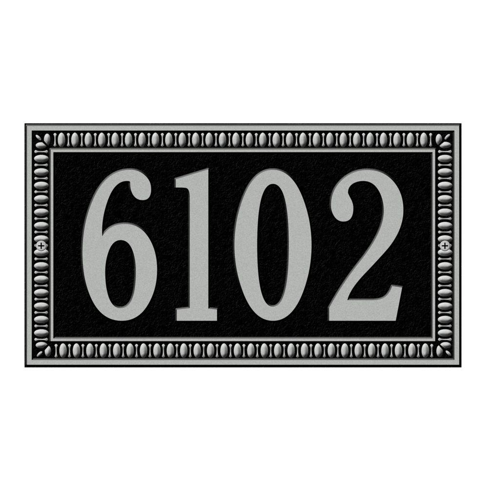 Whitehall Products Egg and Dart Rectangular Black/Silver Standard Wall One Line Address Plaque