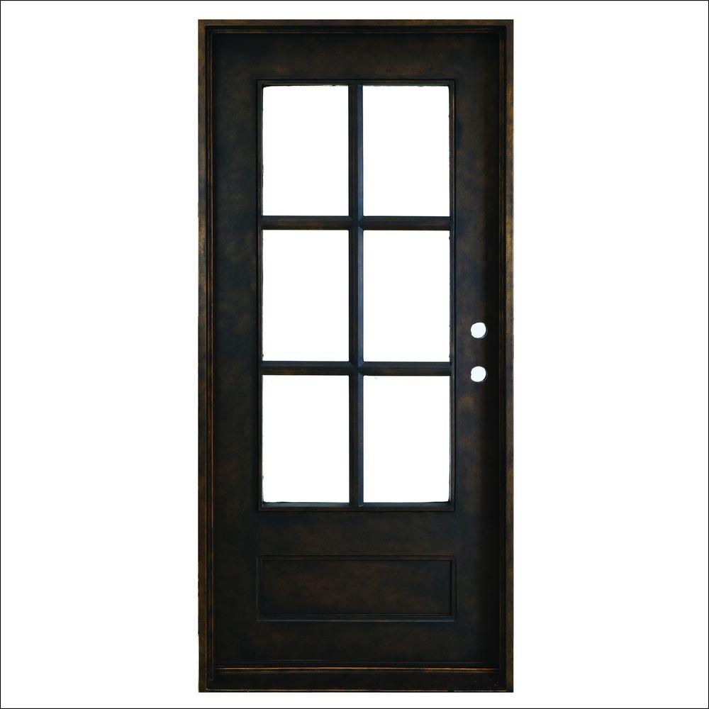 Heritage 6-Lite Antique Rubbed - Steves & Sons 37.5 In. X 81 In. Heritage 6-Lite Antique Rubbed