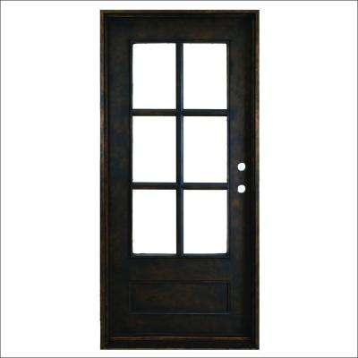 37.5 in. x 81 in. Heritage 6-Lite Antique Rubbed Bronze Left-Hand Inswing Painted Decorative Iron Prehung Front Door