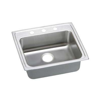 Lustertone Drop-In Stainless Steel 22 in. 3-Hole Single Bowl ADA Compliant Kitchen Sink with 5 in. Bowl