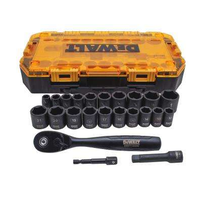 3/8 in. Drive Combination Deep Impact Socket Set with Ratchet (23-Piece)
