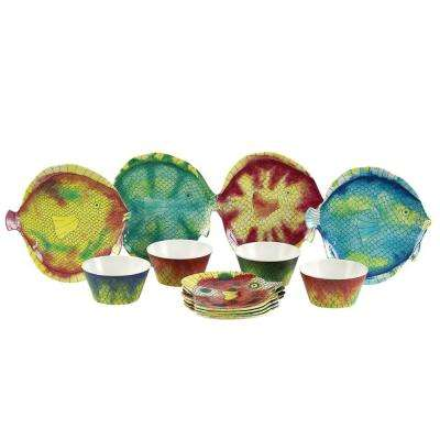 Swimmingly 14-Piece Assorted Colors melamine Dinnerware