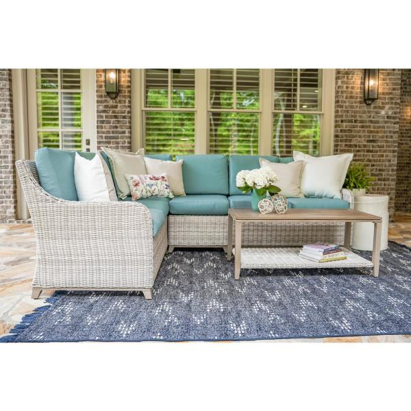Leisure Made Hampton 5-Piece Wicker Outdoor Sectional with Spa Blue Cushions
