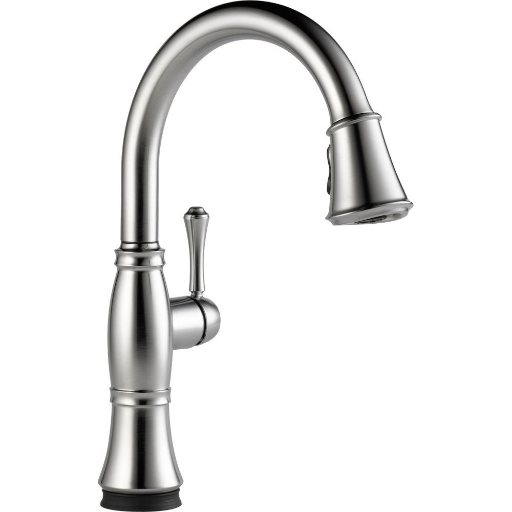 Delta Cassidy Touch Single-Handle Pull-Down Sprayer Kitchen Faucet in Arctic Stainless