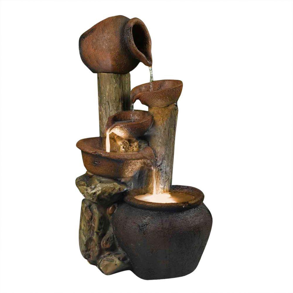Fountain Cellar Pentole Pot Outdoor/Indoor Fountain with Illumination by Fountain Cellar