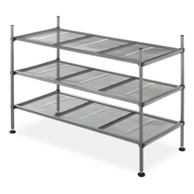 Mesh Collection 17.1 in. H x 25.8 in. W x 12 in. D 3-Tier Metal Storage Shelves in Gunmetal Gray