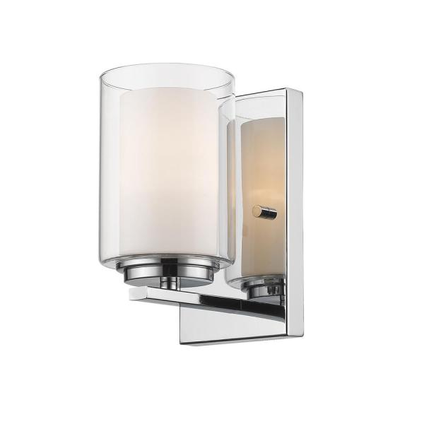 Lara 1-Light Chrome Wall Sconce with Clear and Matte Opal Glass Shade