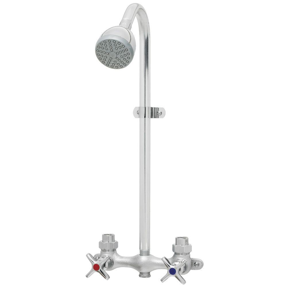 Speakman Commander Exposed 2-Handle 1-Spray Shower Faucet Only in Polished Chrome (Valve Not Included)