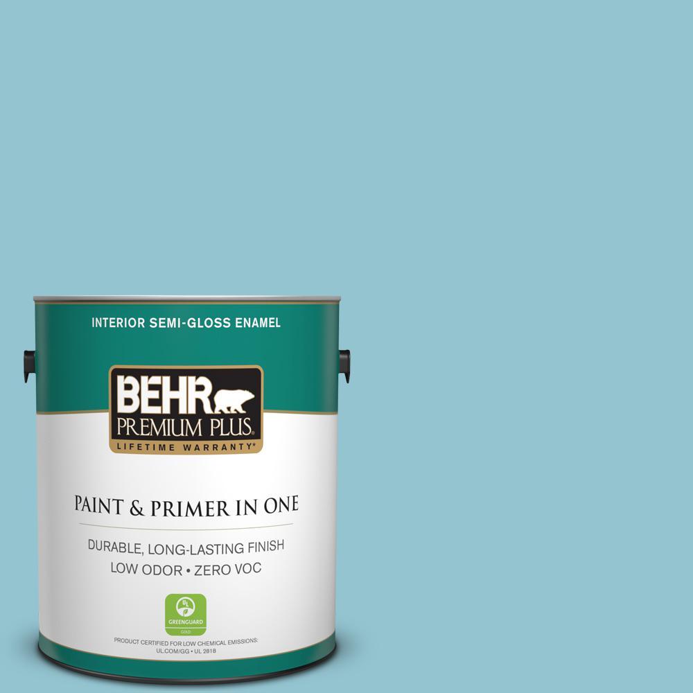 BEHR Premium Plus 1-gal. #520E-3 Velvet Morning Zero VOC Semi-Gloss Enamel Interior Paint