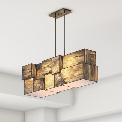 Braque Collection 4-Light Brushed Nickel Chandelier With Dusk Sky Tiffany Cube Glass Shade