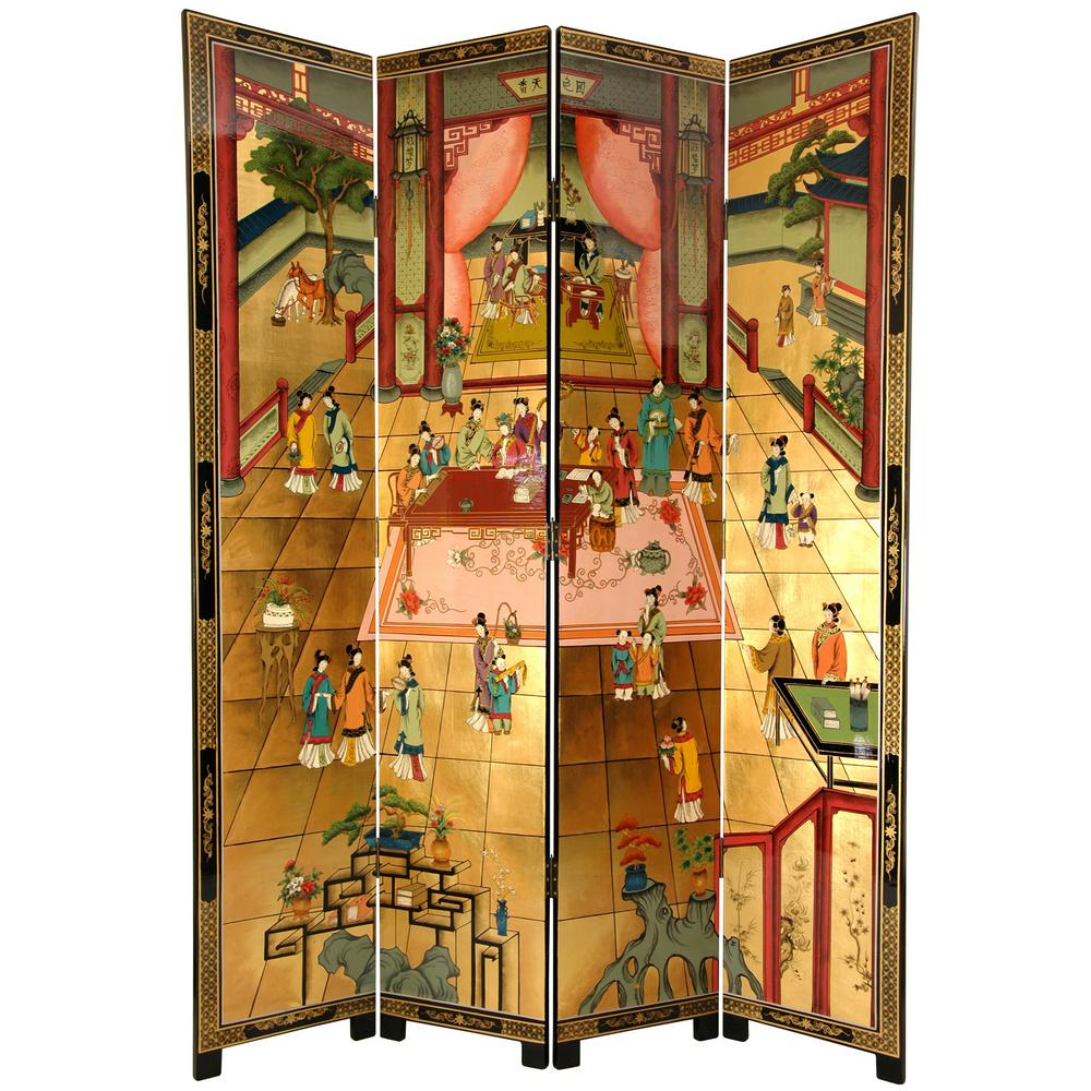7 Ft Gold 4 Panel Red Chamber Room Divider Lcq Scr Dream