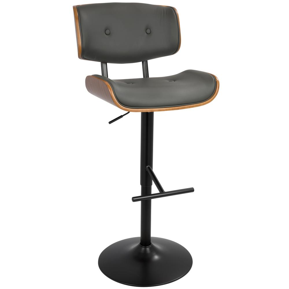 Lombardi 34 in. Walnut and Grey Adjustable Height Barstool