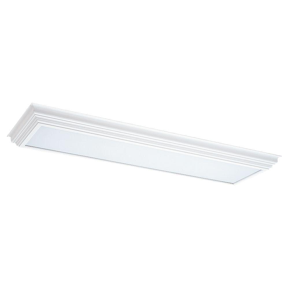 Sea Gull Lighting 2-Light White Wood Cornice Fluorescent Trim