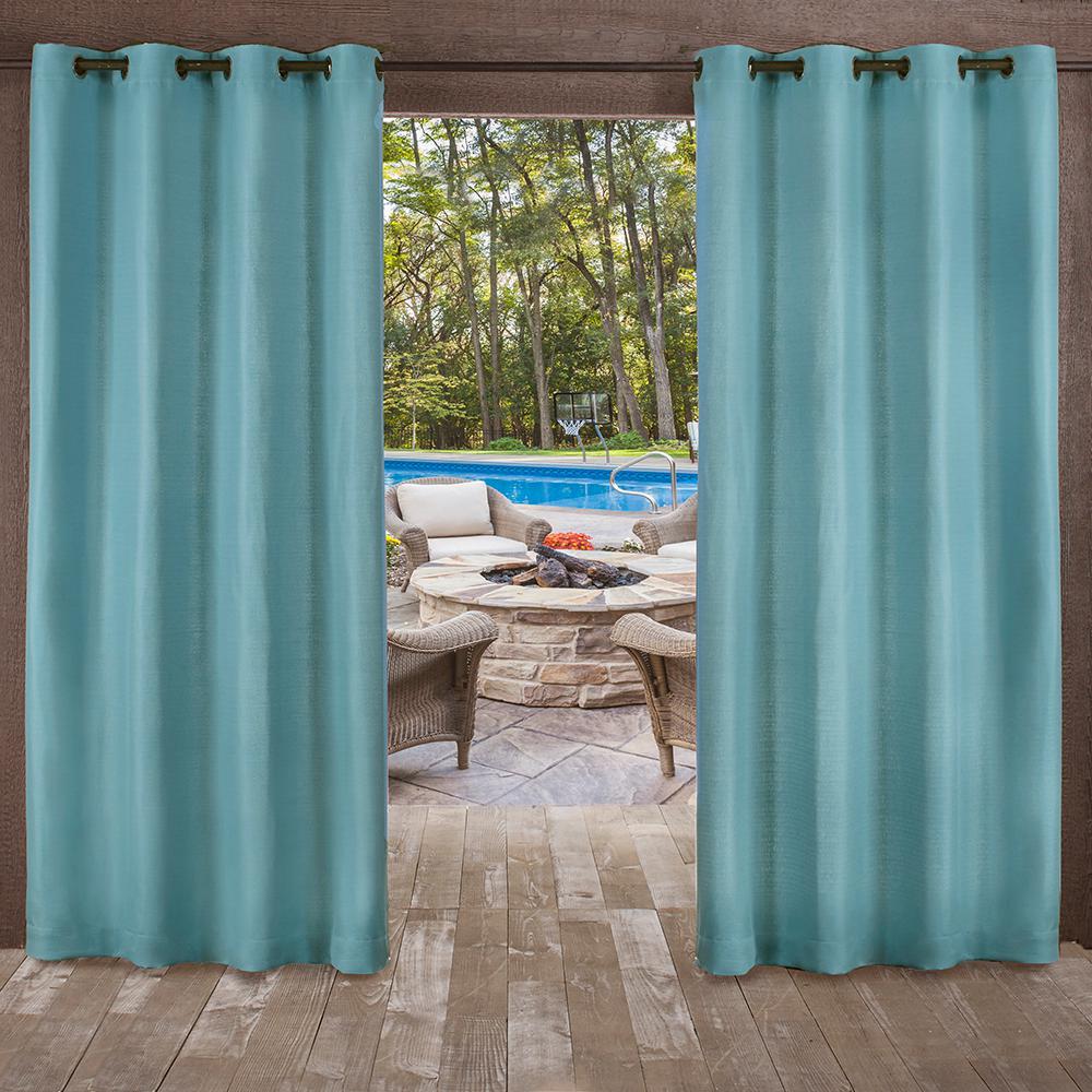 Delano 54 in. W x 84 in. L Indoor Outdoor Grommet Top Curtain Panel in Teal (2 Panels)