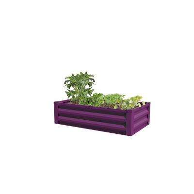 24 in. W x 48 in. L x 10 in. H Eggplant Purple Pre-Galvanized Powder-Coated Steel Raised Garden Bed Planter