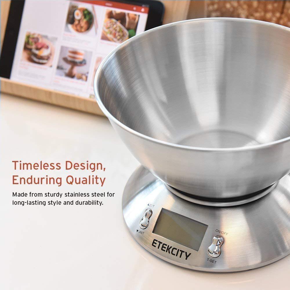 11lb 5kg Digital Kitchen Scale Backlit LCD Food Stainless Steel Bowl Alarm Timer