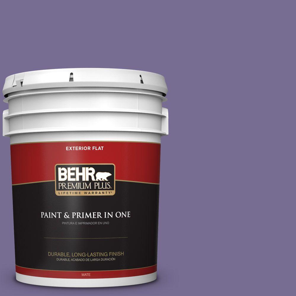 BEHR Premium Plus 5-gal. #650D-6 Purple Silhouette Flat Exterior Paint