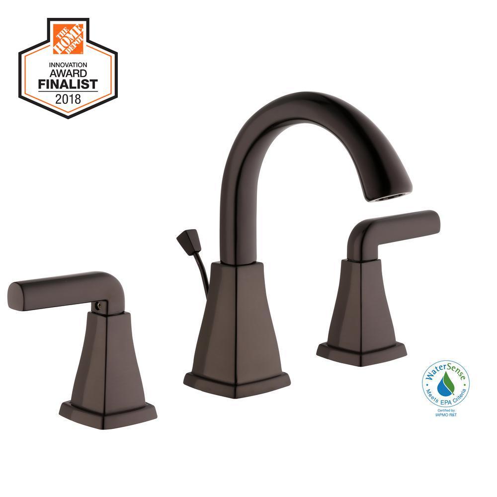 Brookglen 8 in. Widespread 2-Handle High-Arc Bathroom Faucet in Bronze
