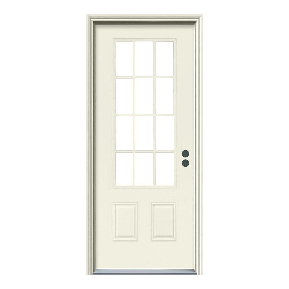 JELD-WEN 32 in. x 80 in. 12 Lite Primed Steel Prehung Left-Hand Inswing Front Door w/Brickmould