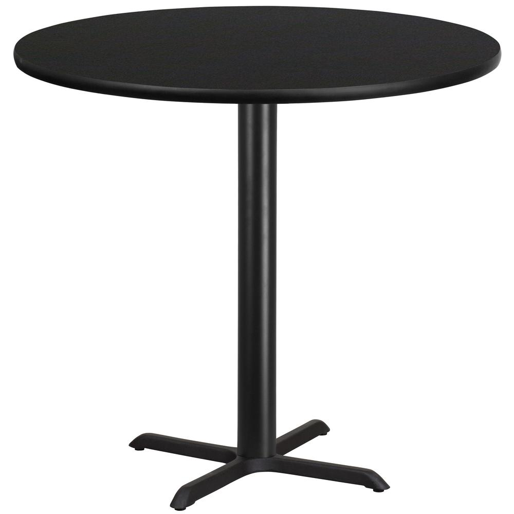Round Black Laminate Table Top With 33 In. X 33 In. Bar Height Table  Base XURD42BKT3333B   The Home Depot