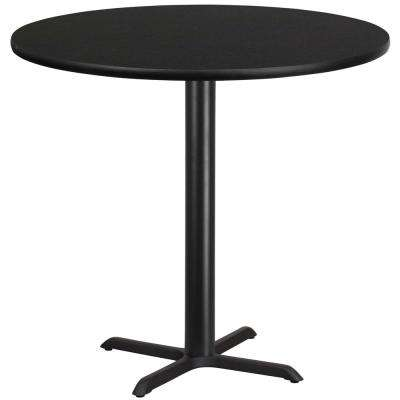 42 in. Round Black Laminate Table Top with 33 in. x 33 in. Bar Height Table Base