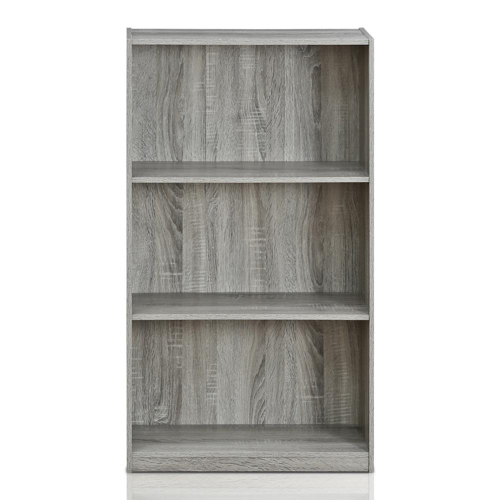 Basic 3-Shelf French Oak Grey Open Bookcase