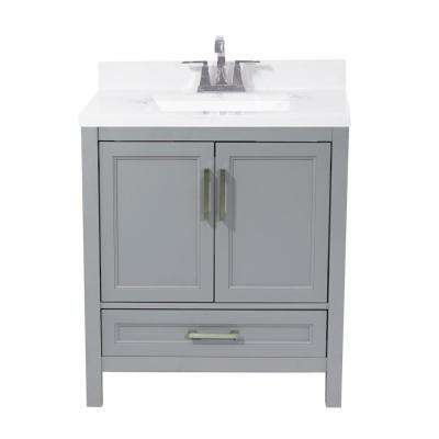 Salerno 31 in. Bath Vanity in Grey with Cultured Marble Vanity Top with Backsplash in Carrara White with White Basin