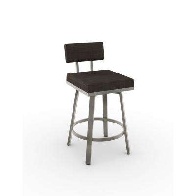 Staten 30 in. Matt Light Grey Metal Dark Brown Grey Polyester Barstool