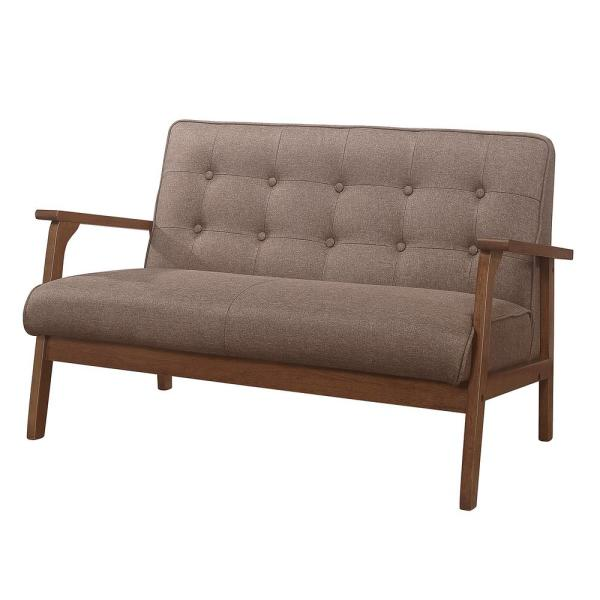 Fabric + High Resilience Foam + Solid Wood Foot Brown Modern Solid Loveseat Sofa Upholstered Fabric 2-Seat Couch