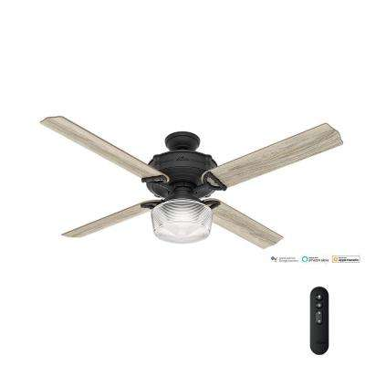 Great room farmhouse ceiling fans lighting the home depot led indoor natural iron wi fi enabled ceiling fan with globe mozeypictures Gallery
