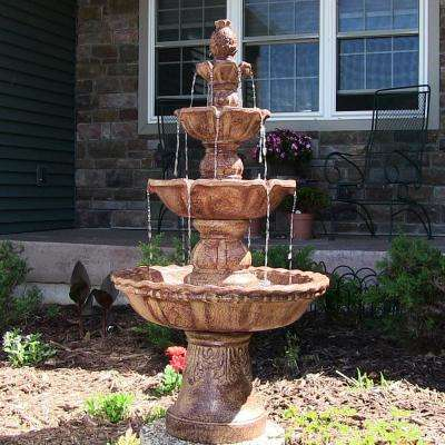 4-Tier Electric Pineapple Water Fountain in Earth