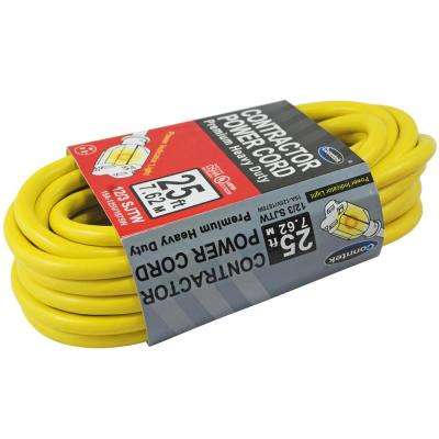 25 ft. 12/3 SJTW Heavy-Duty Lighted End Outdoor Extension Cord in Yellow