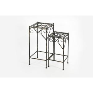 21.06 in., 26.18 in. Celtic Clover Square Black/Gold Cast Metal Plant Stand Set Of 2