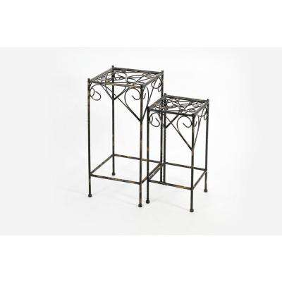 Celtic Clover Square Cast-Iron Plant Stand (2-Set)