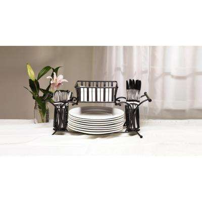 21 in. 4 Compartment Carbon Steel Black Dining Set Caddy