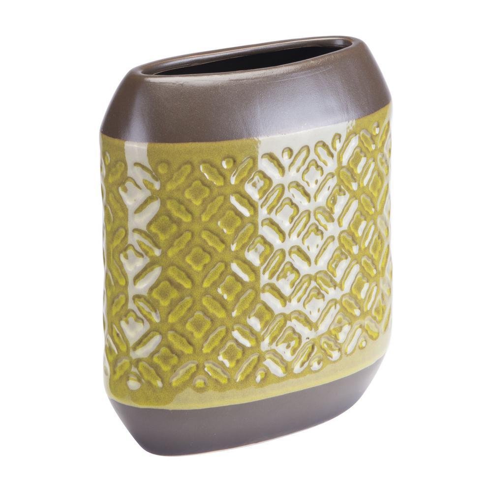 Square 6.6 in. W x 7.8 in. H Olive Green Ceramic Planter