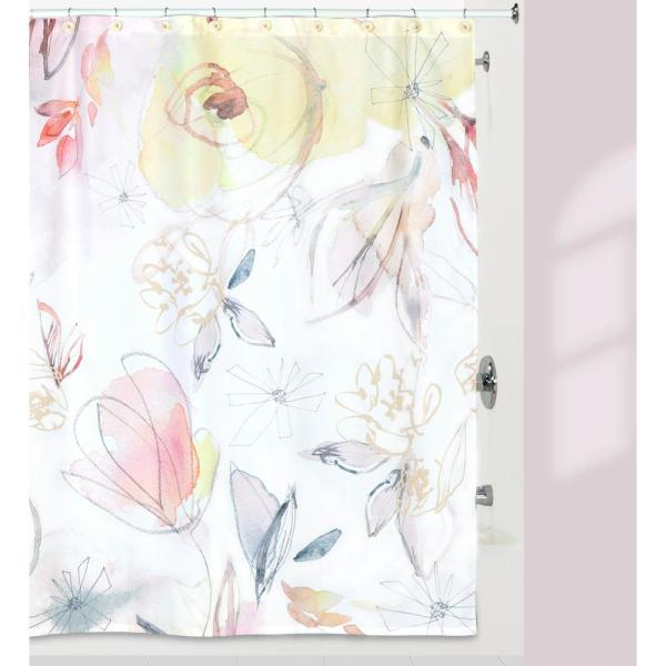 BLUSH AND BLOOMING 72'' MULTI COLORED SHOWER CURTAIN