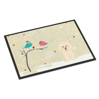 18 in. x 27 in. Indoor/Outdoor Christmas Presents between Friends Bichon Frise Door Mat